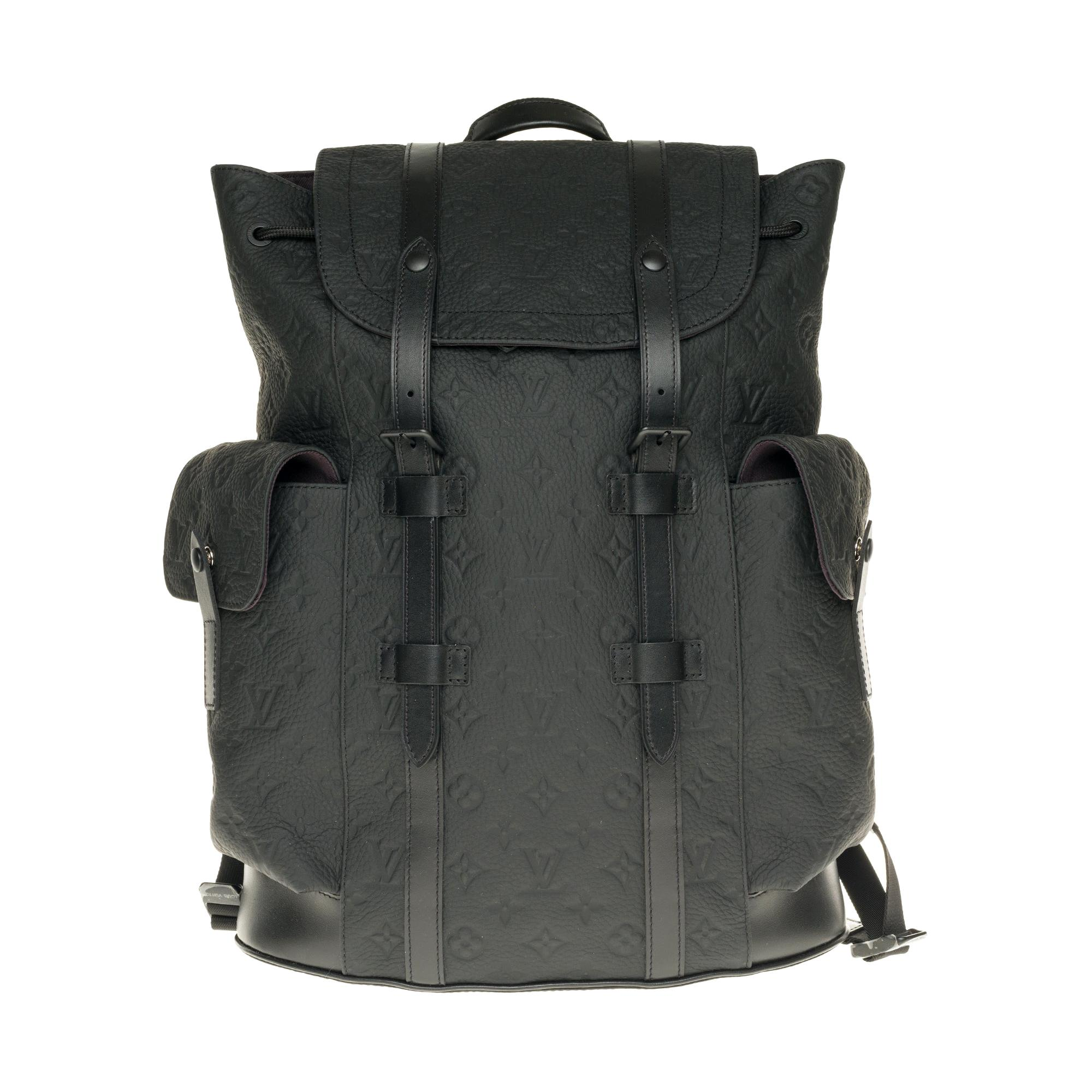 Brand New Louis Vuitton Backpack in black Taurillon leather embossed