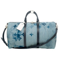 BRAND NEW- Louis Vuitton Keepall Bandouliere 50 Hickory Stripes Denim Watercolor
