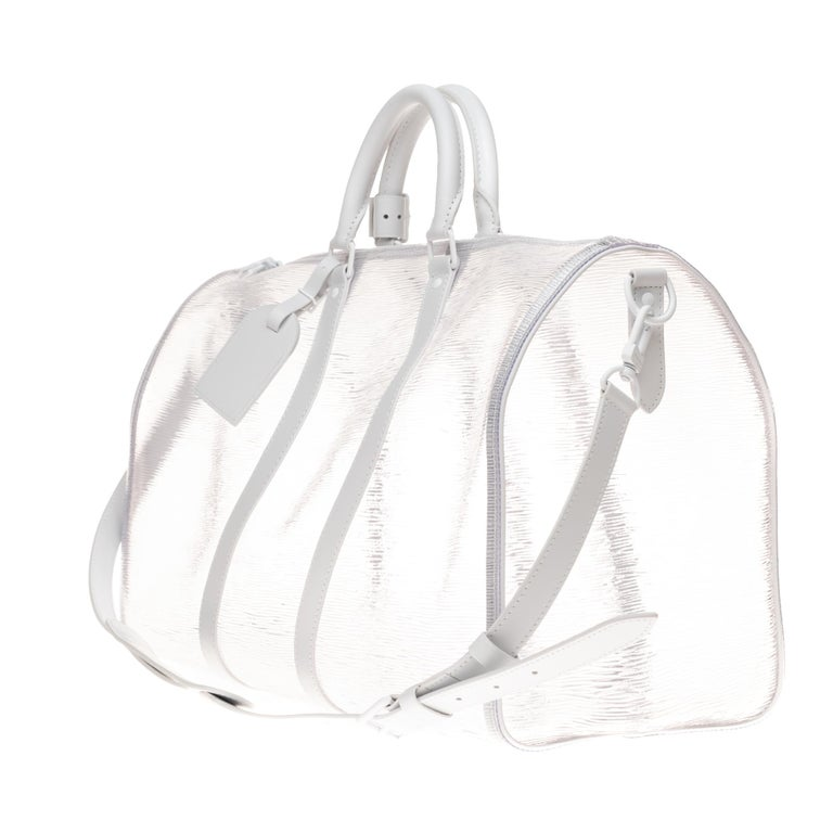 Gray BRAND NEW Louis Vuitton Keepall Bandouliere Wavy 50 Epi Plage White  For Sale