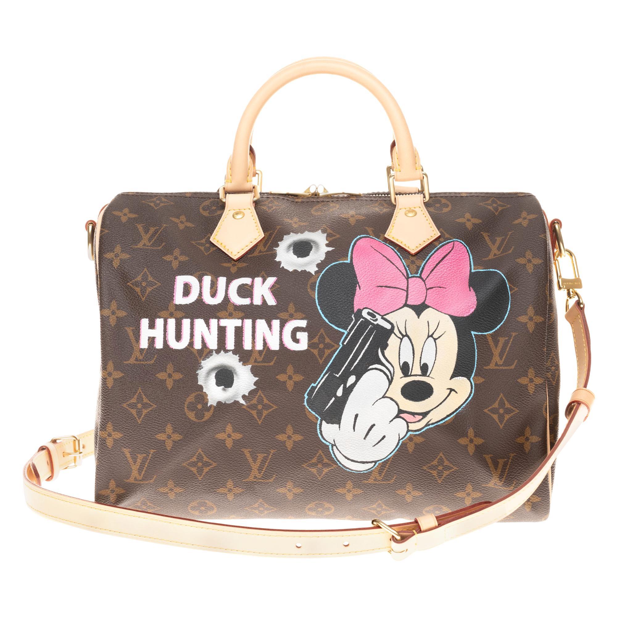 "Brand New Louis Vuitton Speedy 30 in Monogram canvas customized ""Duck Hunting""!"