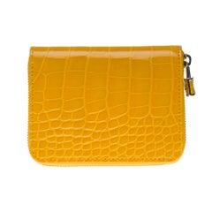 Brand New Louis Vuitton Zippy Padlock Wallet in Yellow alligator leather
