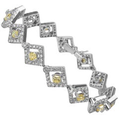 Luca Gems White and Yellow Diamond Bracelet in 18 Karat White Gold 5.45 Carat