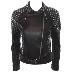 Brand New Michael Kors Silver Studded Black Lambskin Bomber Jacket