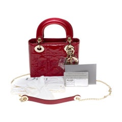 Brand new - Mini Lady Dior handbag with strap in cherry red patent leather