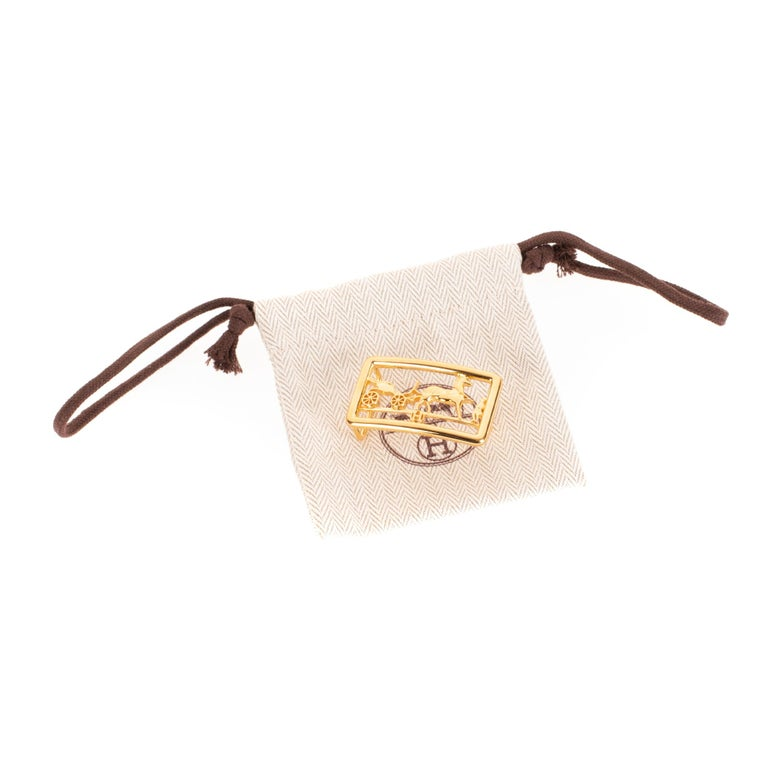 Brand new & New collection Hermes Calèche shiny Gold Belt Buckle ! For Sale 2