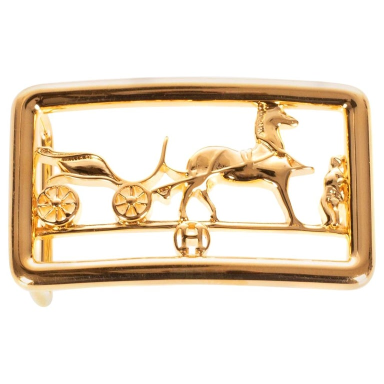 Brand new & New collection Hermes Calèche shiny Gold Belt Buckle ! For Sale