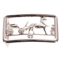 Brand new & New collection Hermes Calèche shiny Silver Belt Buckle !