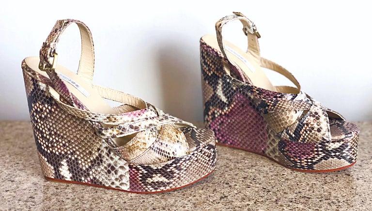 Brand New Nmbr Nine Size 39 Python Pink Snakeskin Platform Wedges Heels Sandals For Sale 5