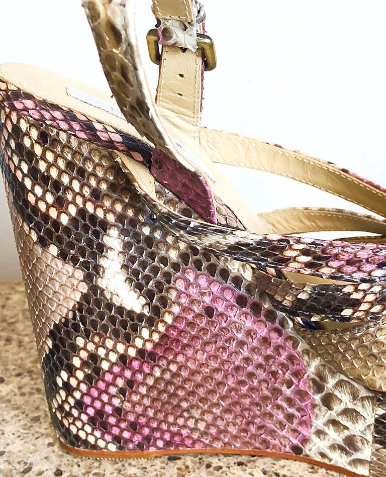 Rare limited edition NMBR NINE (from their 2009 debut collection) genuine python snakeskin stacked wedges! Features hand painted pink throughout. Super comfortable, with a platform for for extra support. Adjustable at strap for comfort. In perfect