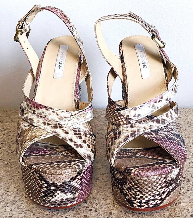Gray Brand New Nmbr Nine Size 39 Python Pink Snakeskin Platform Wedges Heels Sandals For Sale