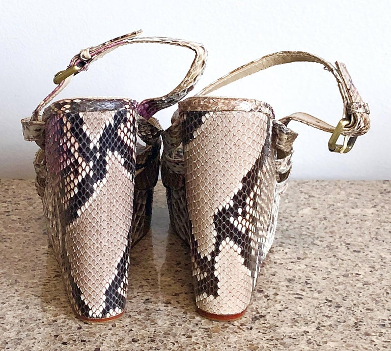 Brand New Nmbr Nine Size 39 Python Pink Snakeskin Platform Wedges Heels Sandals In New Never_worn Condition For Sale In San Francisco, CA