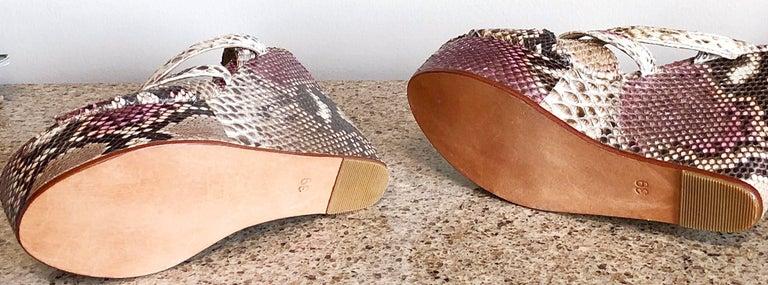 Women's Brand New Nmbr Nine Size 39 Python Pink Snakeskin Platform Wedges Heels Sandals For Sale