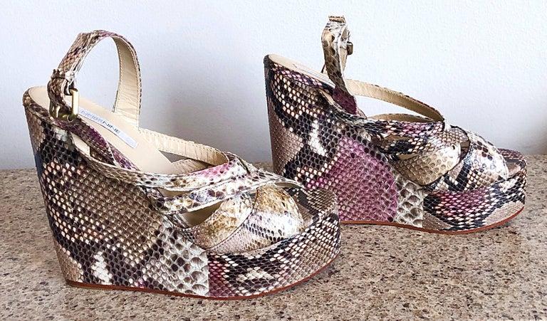 Brand New Nmbr Nine Size 39 Python Pink Snakeskin Platform Wedges Heels Sandals For Sale 1