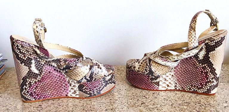 Brand New Nmbr Nine Size 39 Python Pink Snakeskin Platform Wedges Heels Sandals For Sale 2