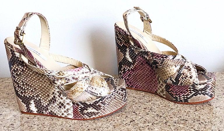 Brand New Nmbr Nine Size 39 Python Pink Snakeskin Platform Wedges Heels Sandals For Sale 3