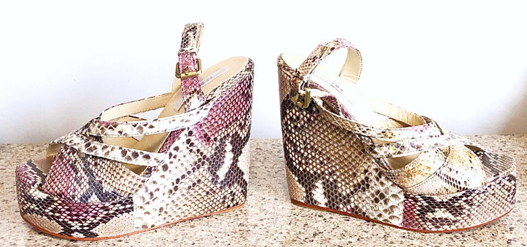 Brand New Nmbr Nine Size 39 Python Pink Snakeskin Platform Wedges Heels Sandals For Sale 4