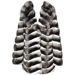 Brand New Nortika Furs Chinchilla Fur Coat with Double Fur Hood (Size 12 - M)
