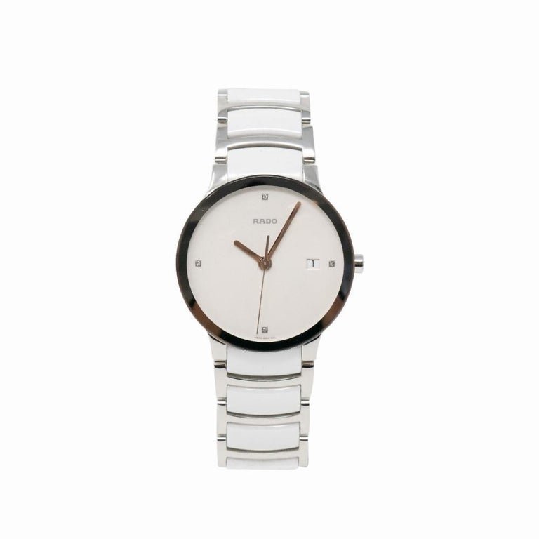 9edb248319 Contemporary Brand New Rado Centrix Quartz White Ceramic Steel & Diamonds  Certified Pre-Owned For