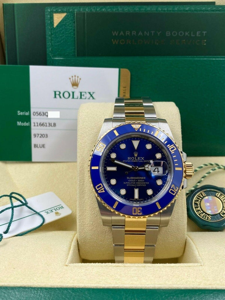 Style Number: 116613     Serial: 0563Q***   Year: 2020     Model: Submariner     Case Material: Stainless Steel     Band: 18K Yellow Gold & Stainless Steel      Bezel: Blue Ceramic      Dial: Blue     Face: Sapphire Crystal      Case Size: 40mm