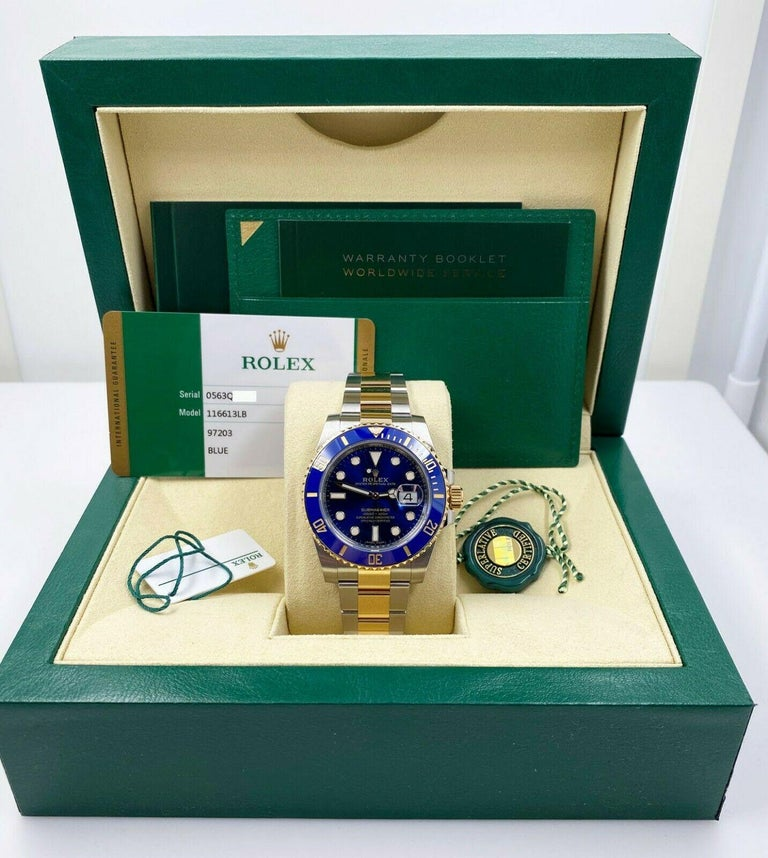 Rolex 116613 Submariner Blue 18 Karat Yellow Gold Stainless Box Papers, 2020 In New Condition For Sale In San Diego, CA