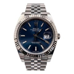 Brand New Rolex 126334 Datejust 41 Blue Dial Stainless Box Paper Stickers, 2020