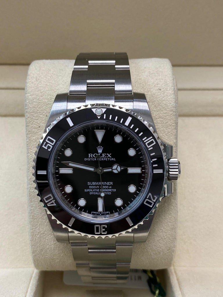 Rolex Submariner 114060 Black Ceramic Stainless Steel Box Paper In New Condition For Sale In San Diego, CA