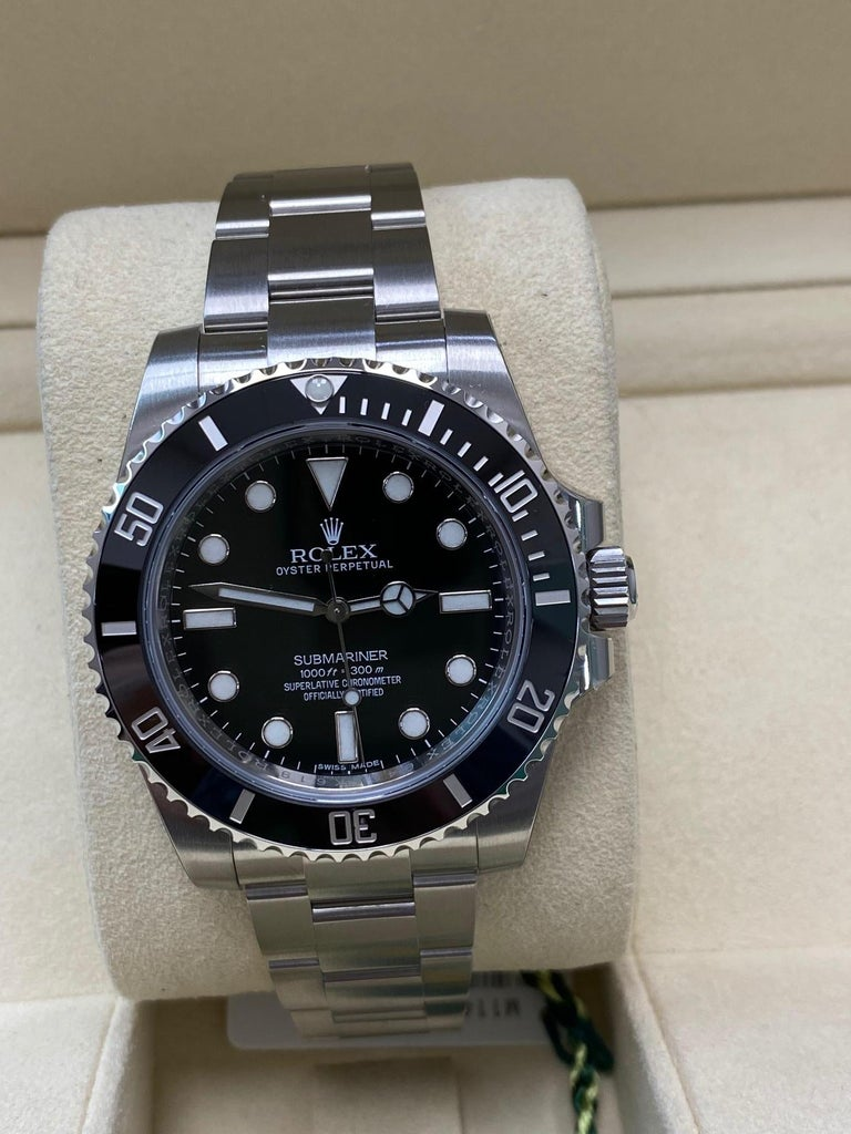 Men's Rolex Submariner 114060 Black Ceramic Stainless Steel Box Paper For Sale