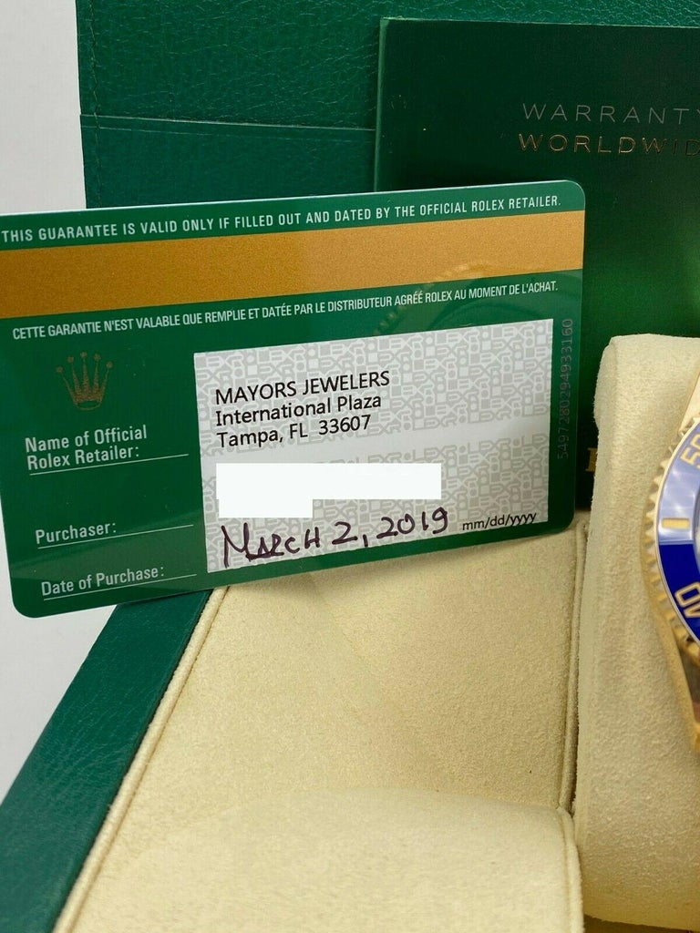 Brand New Rolex Submariner 116618lB Blue Ceramic 18 Karat Gold Box Paper, 2019 In Excellent Condition For Sale In San Diego, CA