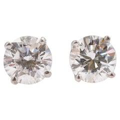 Brand New Round Diamond Solitaire Stud Earrings 1.16 Carat Set in 14 Karat Gold