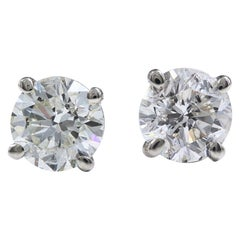 Brand New Round Diamond Solitaire Stud Earrings 2.05 Carat set in 14 Karat Gold