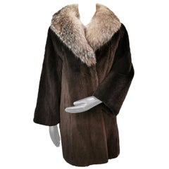 Brand new sheared beaver fur coat with crystal fox trim size 14