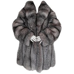 Pre-owned Silver Fox Fur Coat (Size 16-XL)