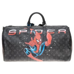 "Brand new SPIDERBAG ""SpiderMan""Louis Vuitton Keepall 55 éclipse strap customized"