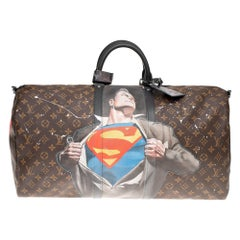 "Brand new SuperBag ""Superman"" Louis Vuitton Keepall 55 Macassar strap customized"