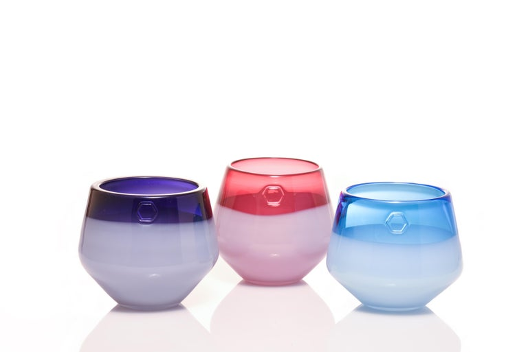 American Branded Series Set in Blue - Contemporary Handmade Glass Vessels  For Sale
