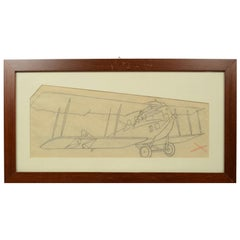 Pencil drawing depicting a Brandenburg C I Aircraft WWI