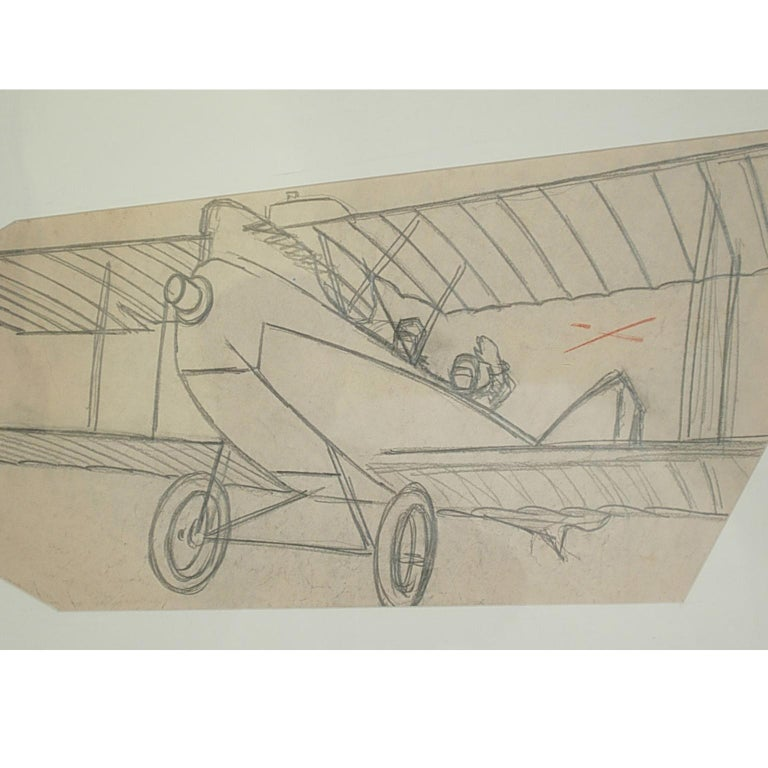 Pencil drawing drawn by Riccardo Cavigioli in the early 1920s depicting a two-seat biplane for reconnaissance Brandenburg C I of 1916, built by Ufag in Budapest. Measure with frame cm 68 x 38 inches 26.8 x 15.  Riccardo Cavigioli was born in Milan