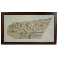 Pencil drawing depicting a Brandenburg C I WWI Aircraft