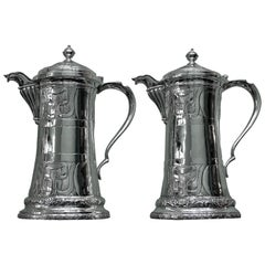 Brandimarte 20th Century Pair of Silver Engraved Cocktail Pitchers Italy, 1950