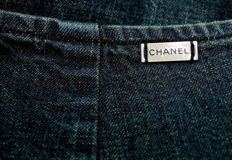 Women's Brandnew Chanel Denim Jeans Hot Pants Shorts with Zipper Details For Sale