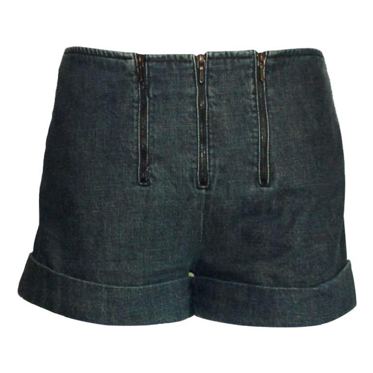 Brandnew Chanel Denim Jeans Hot Pants Shorts with Zipper Details For Sale