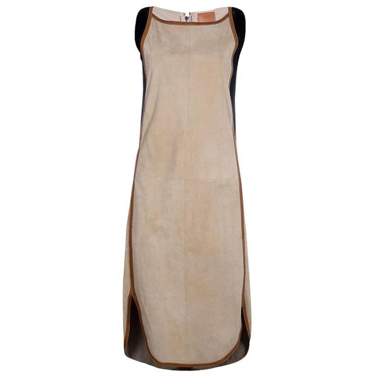 NEW Hermès Paris Suede Leather Shift Dress For Sale