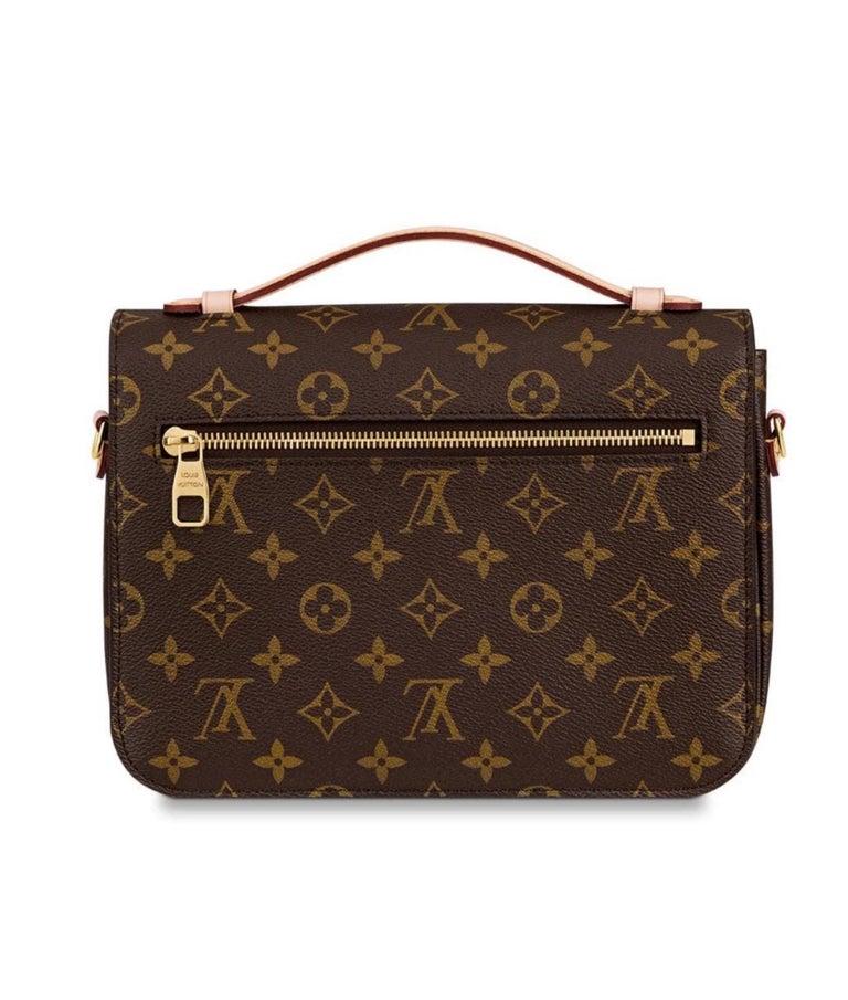 Black NEW Louis Vuitton Pochette Metis Monogram Canvas Hand Bag with Strap For Sale
