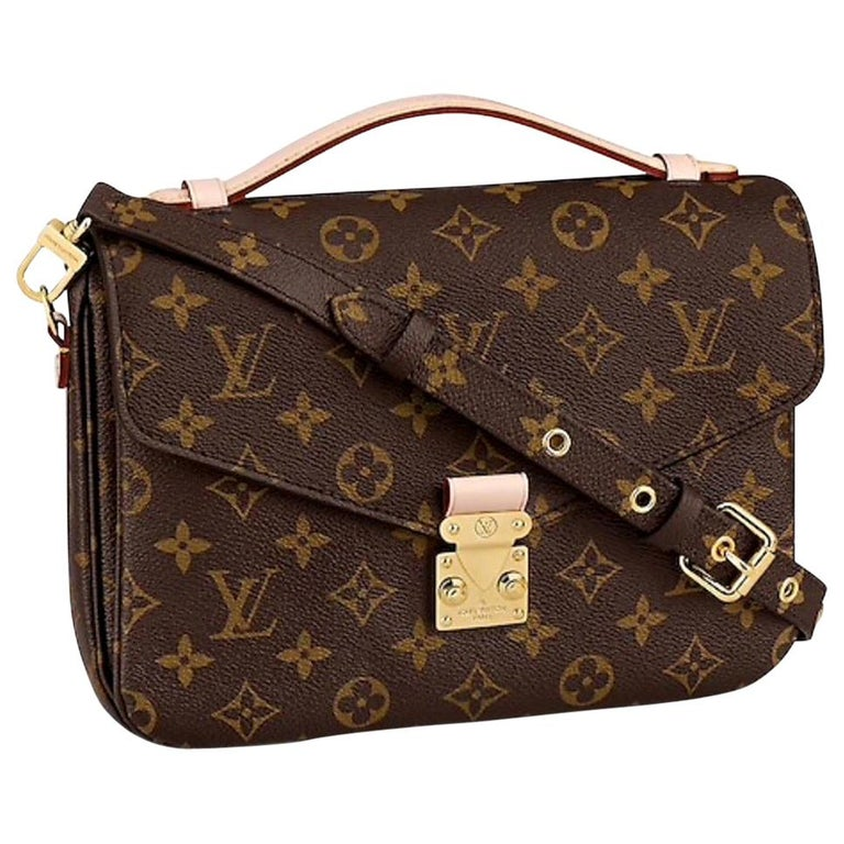 NEW Louis Vuitton Pochette Metis Monogram Canvas Hand Bag with Strap For Sale
