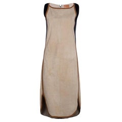 Brandnew Taupe Hermes Suede Leather Shift Dress