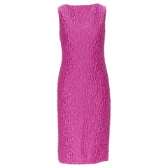 BRANDON MAXWELL fuschia pink leopard jacquard shift cocktail dress US2 S
