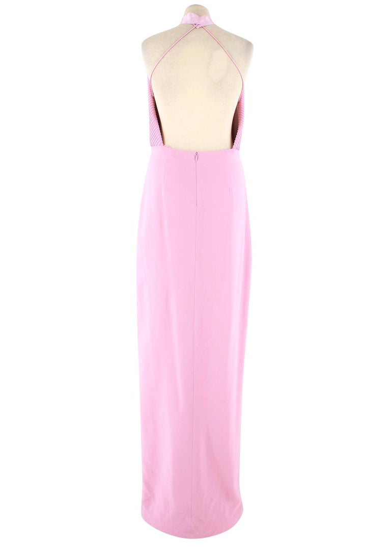 Pink Brandon Maxwell pintuck-bodice crepe gown US 6 For Sale