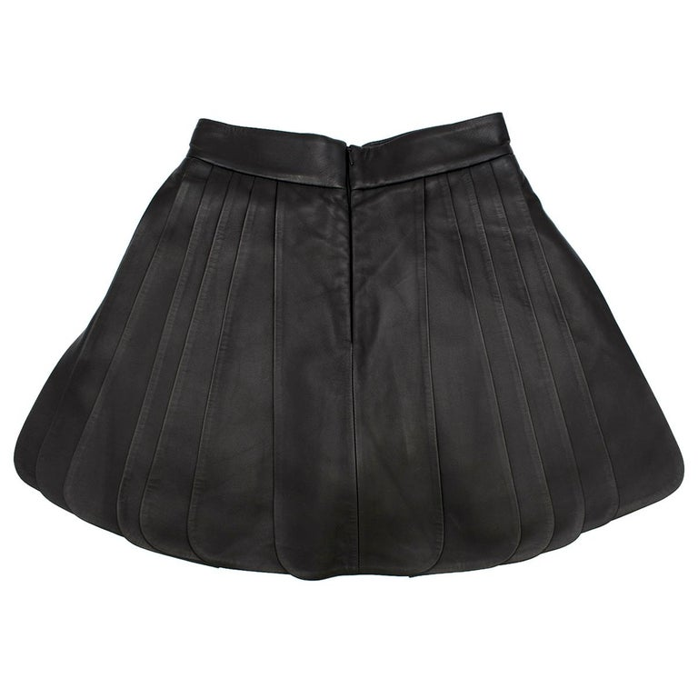 shop for newest beautiful in colour big selection of 2019 Brandon Maxwell Pleated Leather Mini Skirt in Black SIZE US 2