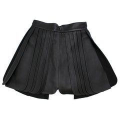 Brandon Maxwell Pleated Leather Mini Skirt in Black SIZE US 2