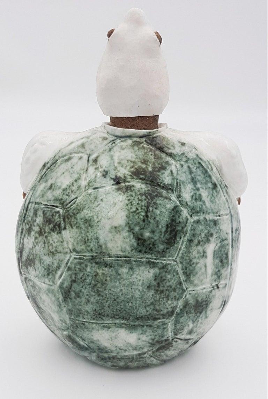 Green Turtle Flask - Gray Figurative Sculpture by Brandon Schnur